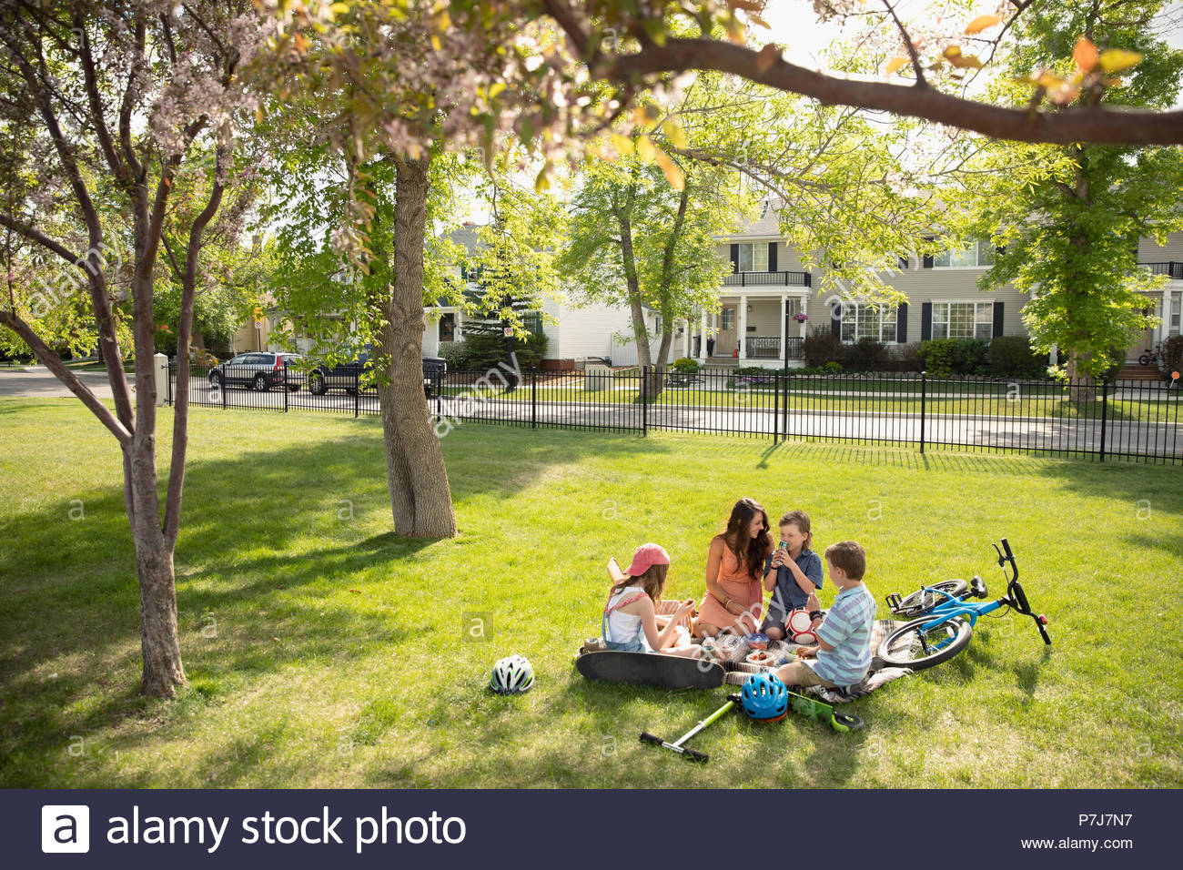 Madre e hijos disfrutando de un picnic en el parque soleado Imagen De Stock