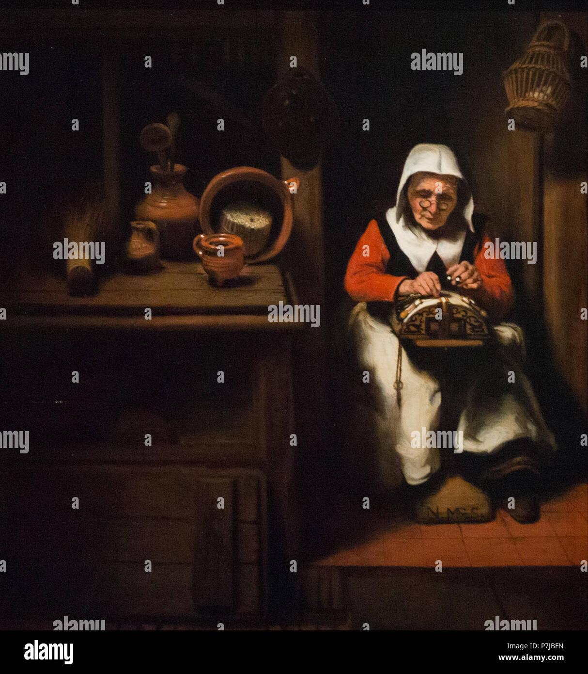 Nicolaes Maes - El viejo lacemaker - c.1655 Imagen De Stock
