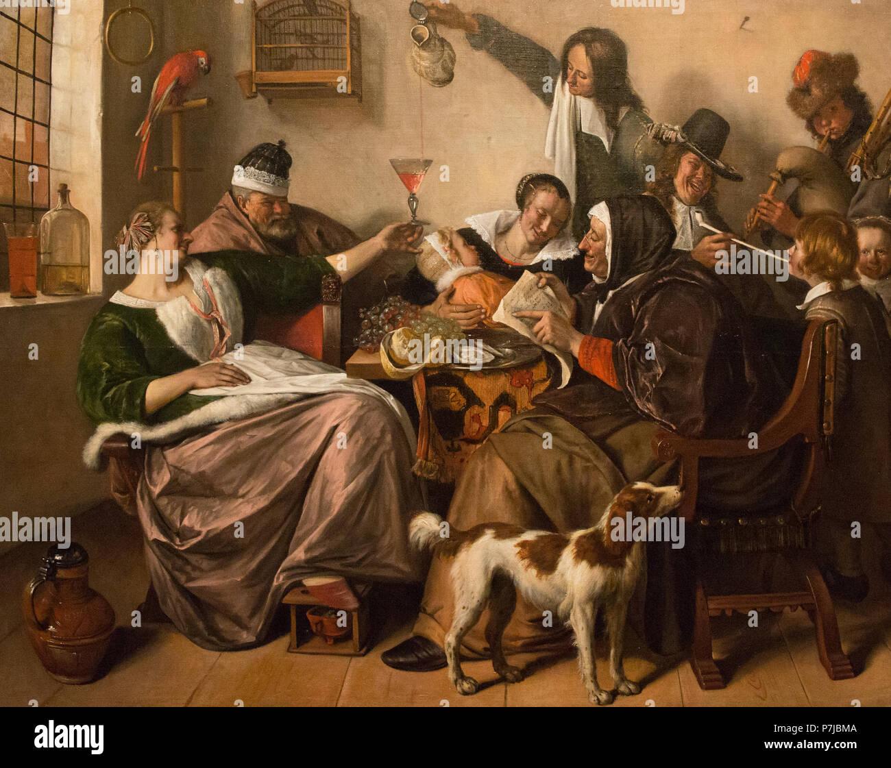 Jan Steen -como el antiguo tubo de cantar, así los jóvenes - c.1665 Imagen De Stock