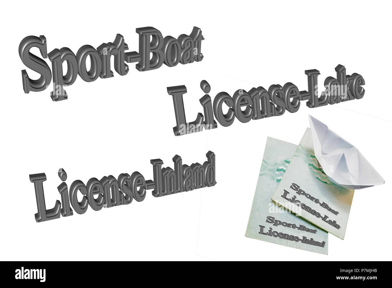 Texto en 3D en inglés 'Sport' Licencia barco contra el fondo blanco. Imagen De Stock
