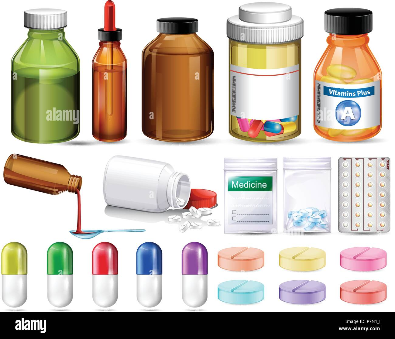Conjunto de pastillas y recipientes de medicamentos ilustración Imagen De Stock