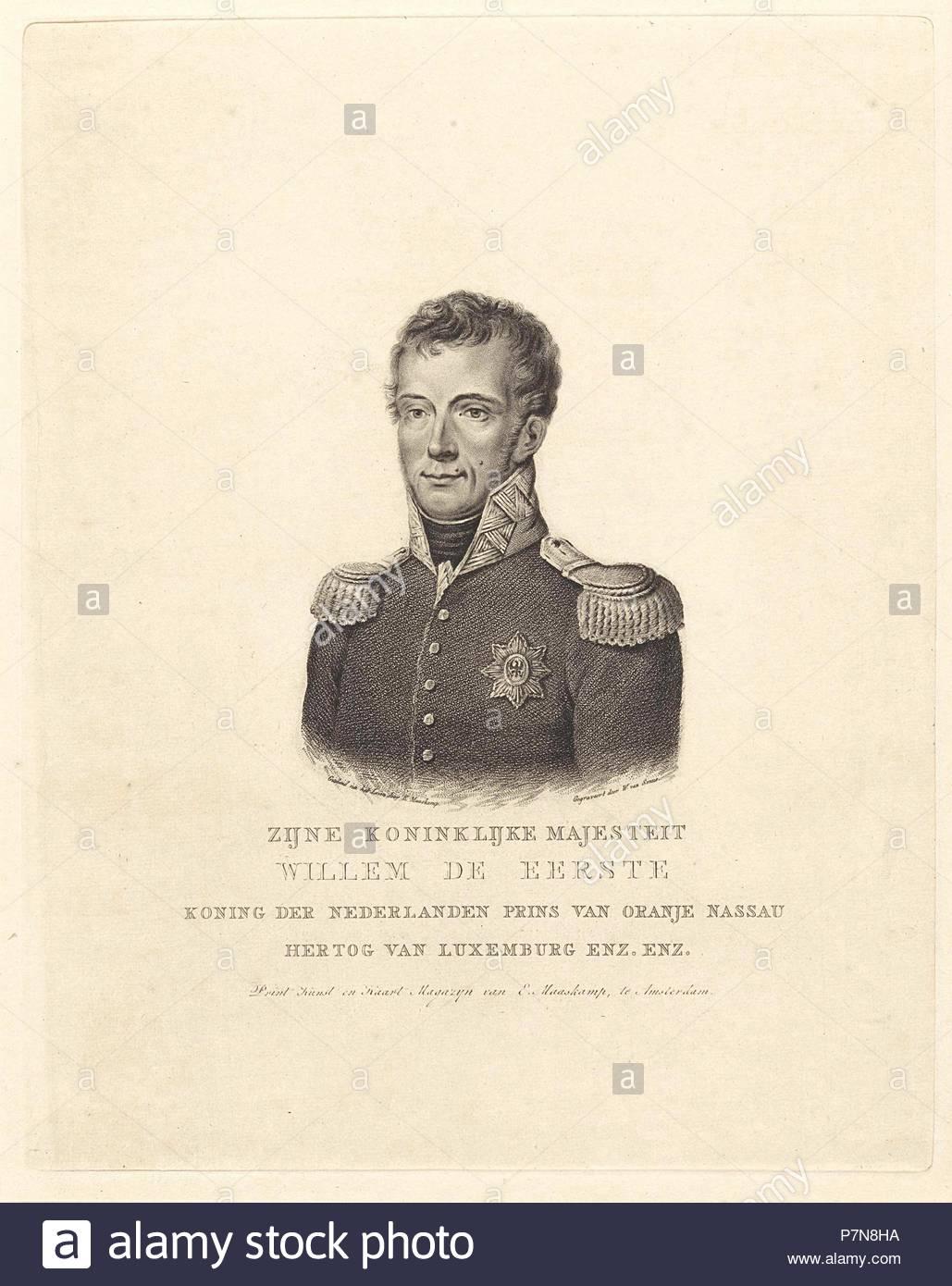 Retrato de Frederik Willem I, rey de los Países Bajos. Willem van Senus, Evert Maaskamp, 1814 - 1843. Imagen De Stock