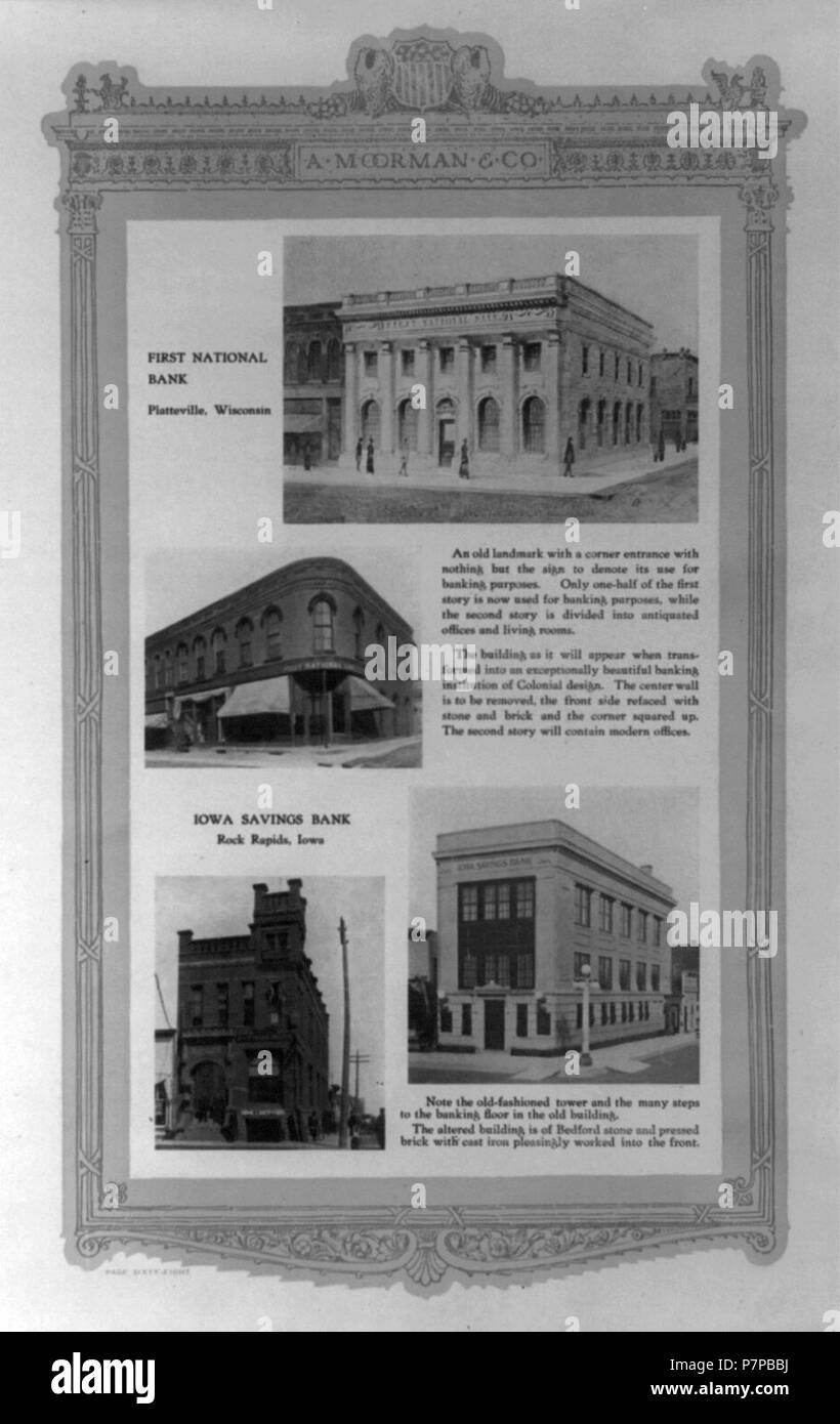 4 Viejos 4 ilustraciones- viejo y nuevo first national bank, en