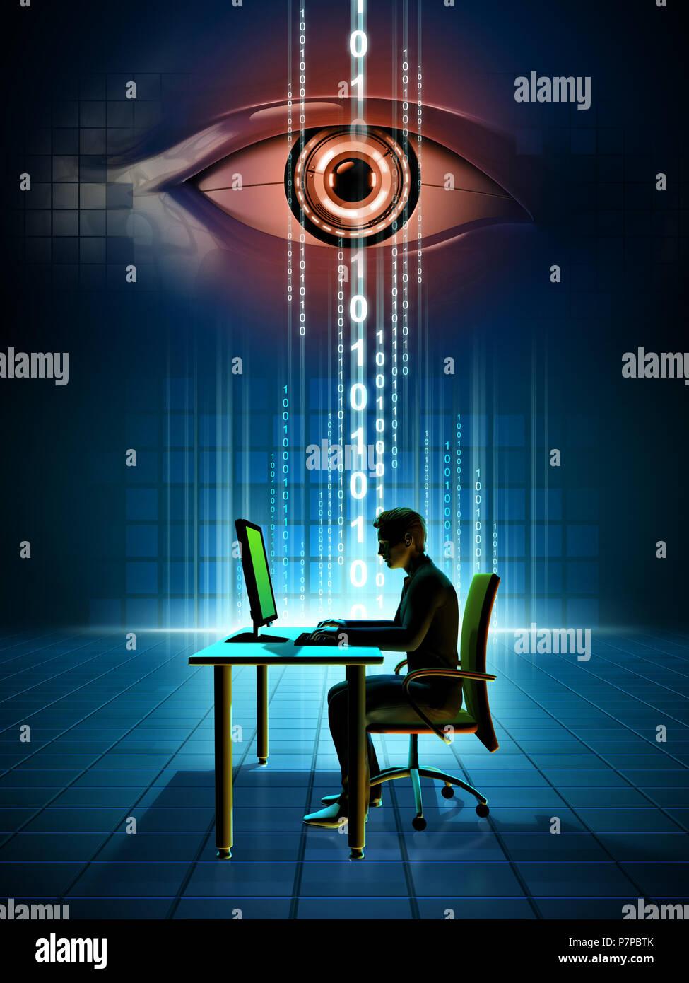 Monitoreo de datos online. Ilustración Digital. Imagen De Stock