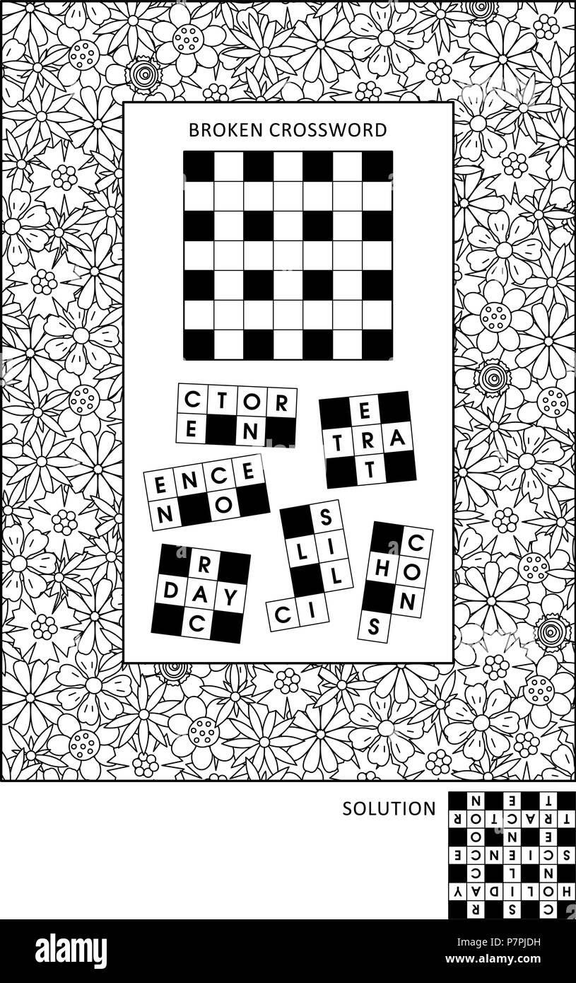 Los Puzzles Y Colorear La Página De Actividad Para Adultos Con Juego