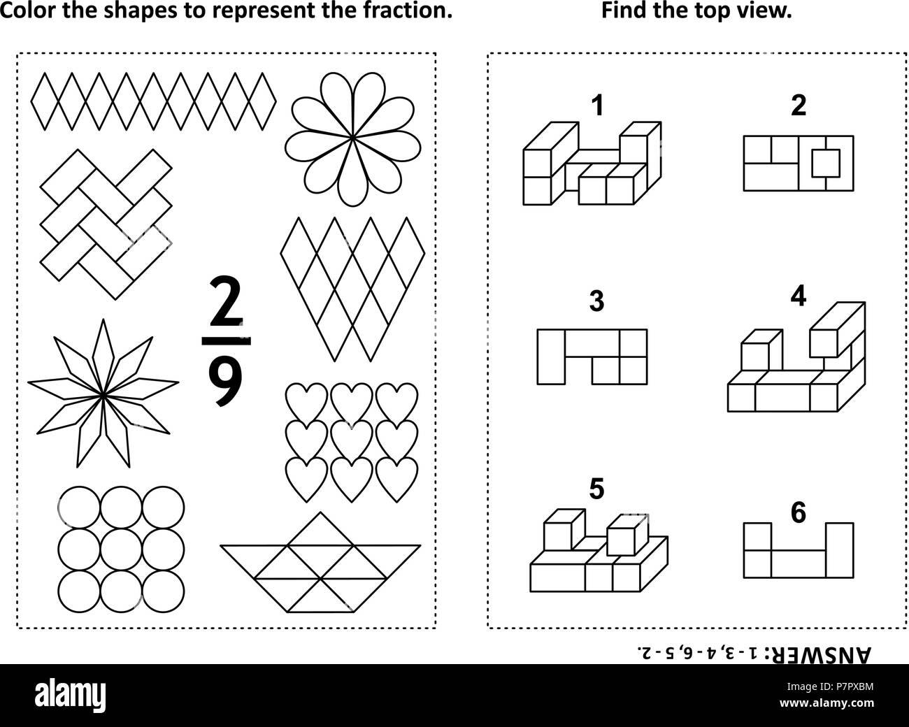Dos visual acertijos matemáticos y páginas para colorear. Las formas ...