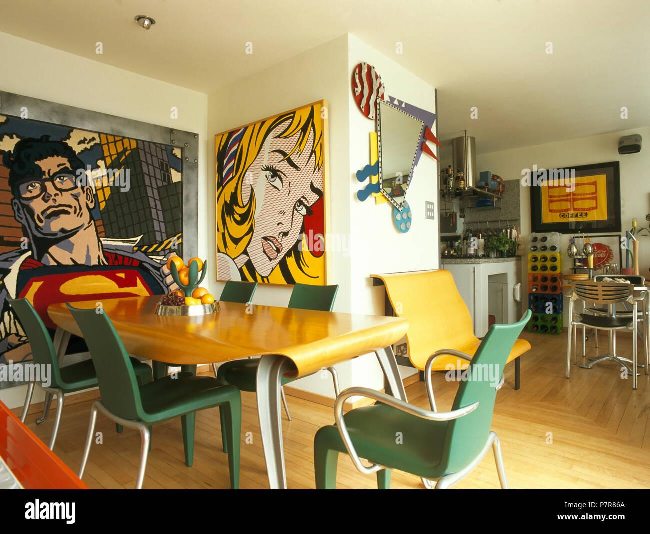 Pinturas de estilo de dibujos animados en 90 comedor con sillas de ...