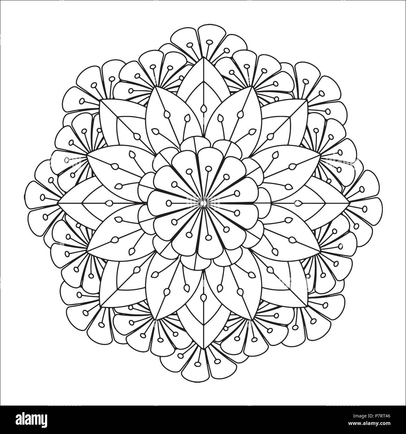 Mandala flor ilustración vectorial. Patrón orientales, vintage ...