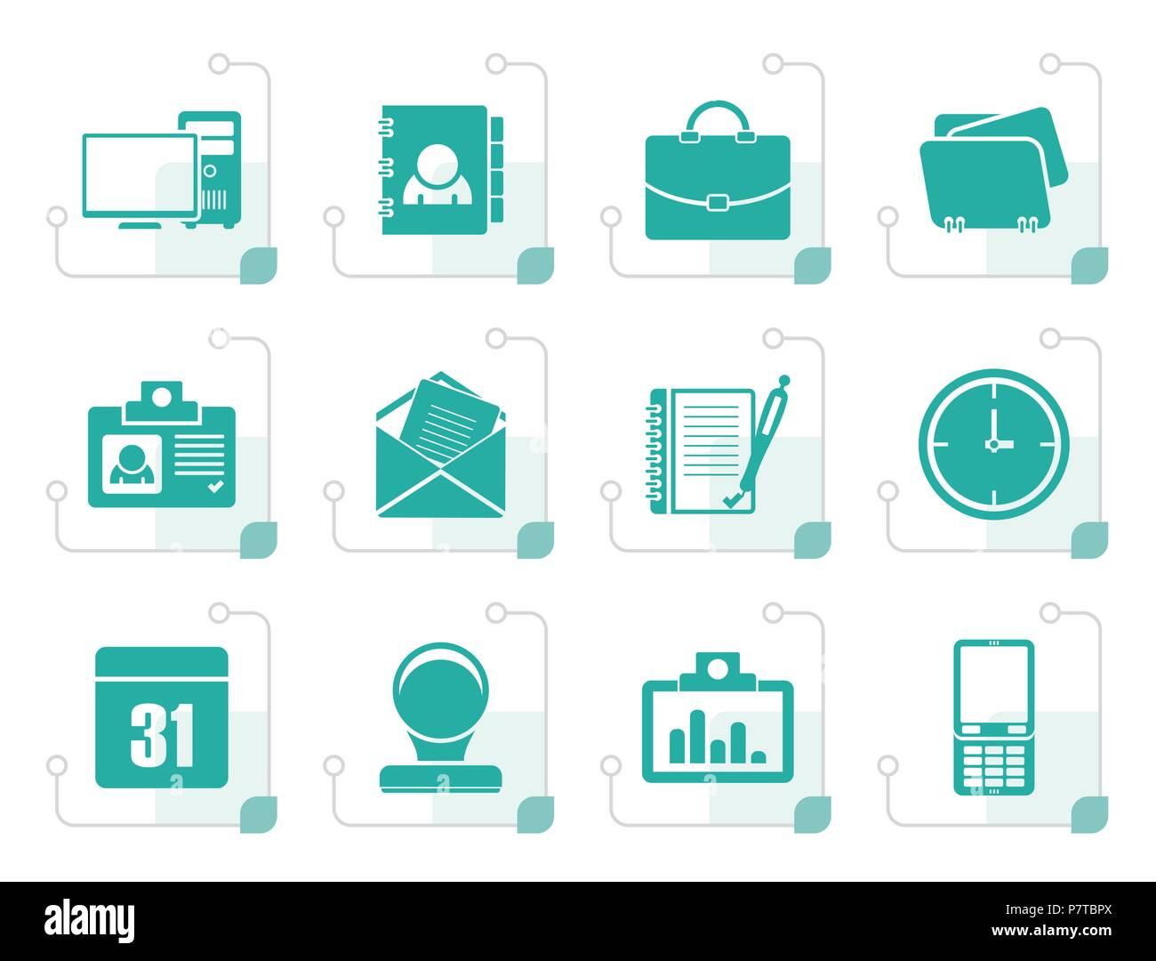 Aplicaciones Web estilizados, Empresa y Oficina iconos, iconos universales - conjunto de iconos vectoriales Imagen De Stock