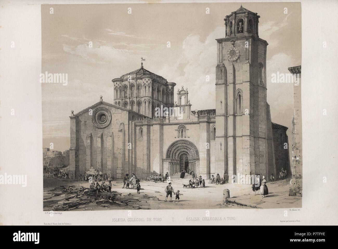 3 1844, España artística y monumental, vistas y descripción de los sitios y monumentos más notables de España, vol 2, la Iglesia colegial de Toro Imagen De Stock