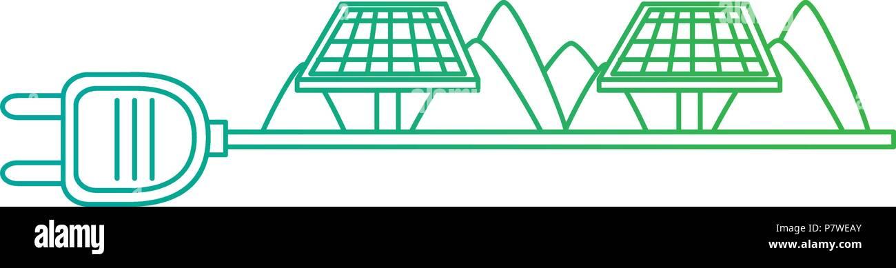Enchufe de energía verde con paneles solares Imagen De Stock