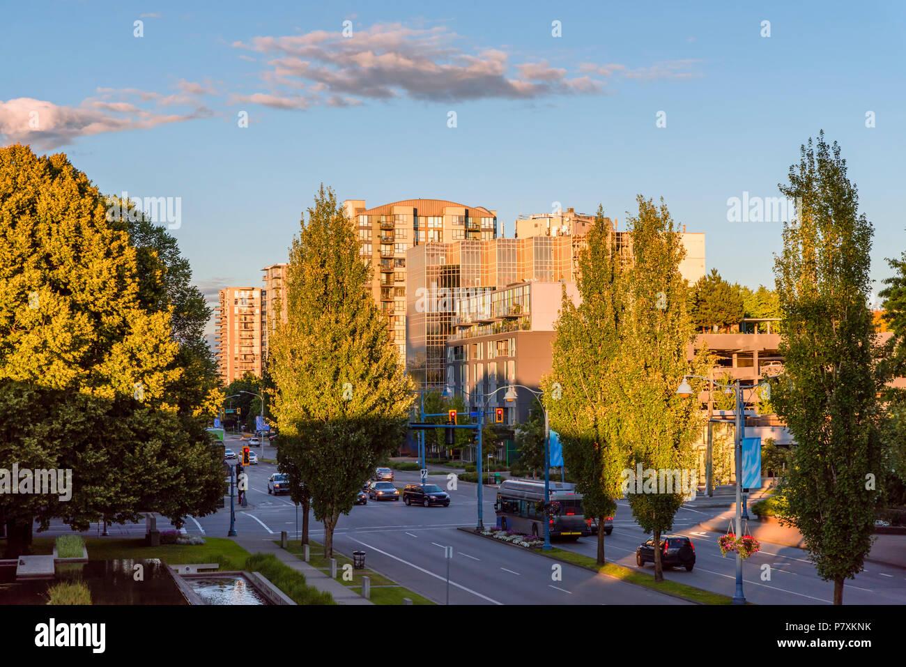 Por la noche las calles de una ciudad moderna, los edificios con ventanas luminosas, los faros de los coches, piscina con reflejo en el agua, árboles y arbustos de plantas, un blu Imagen De Stock