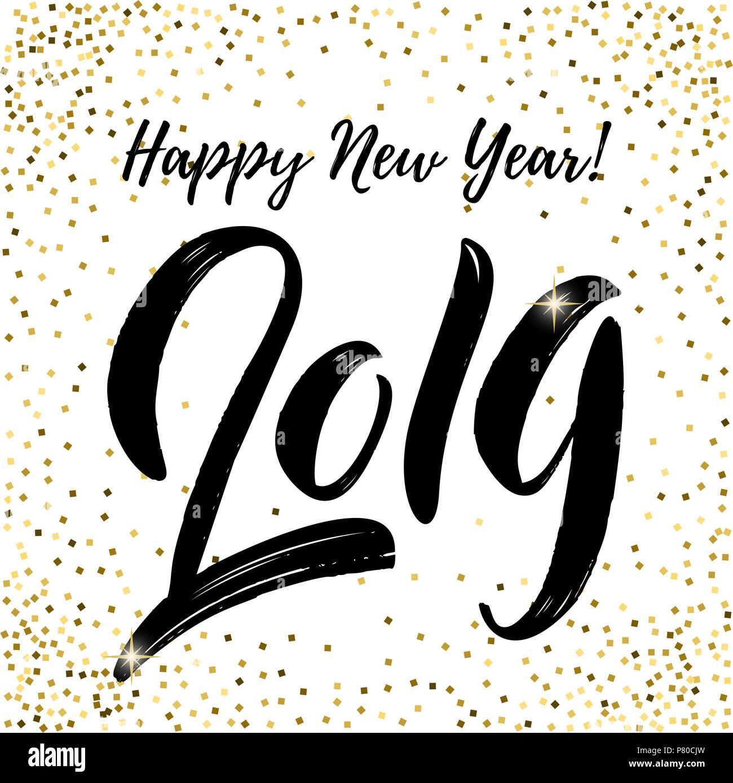 Feliz Año Nuevo 2019 Frase De Letras Sobre Fondo Blanco Con