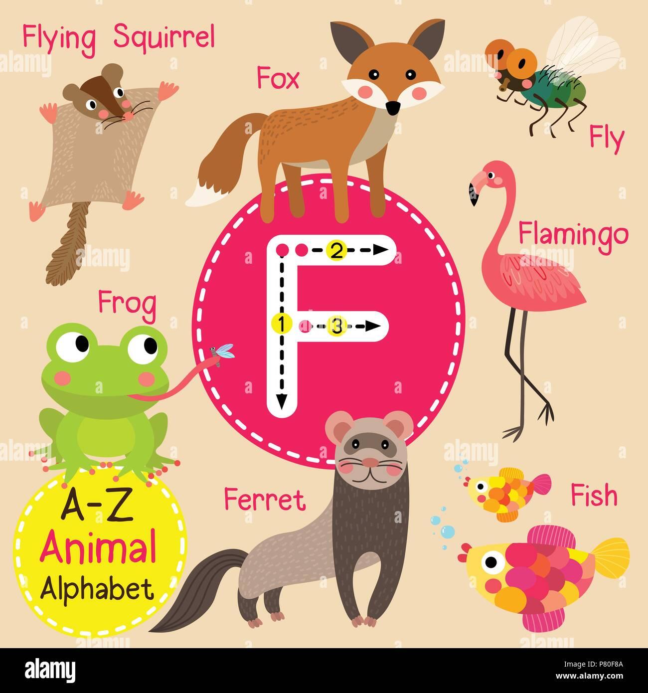 Cute zoo para niños alfabeto F carta de rastreo de animales ...