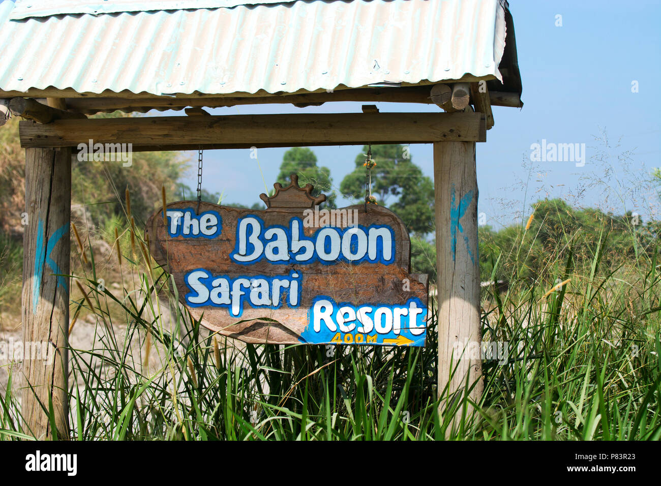 Safari Lodge, Resort, signo para el Babuino Safari Resort, el Parque Nacional Queen Elizabeth, Uganda Imagen De Stock