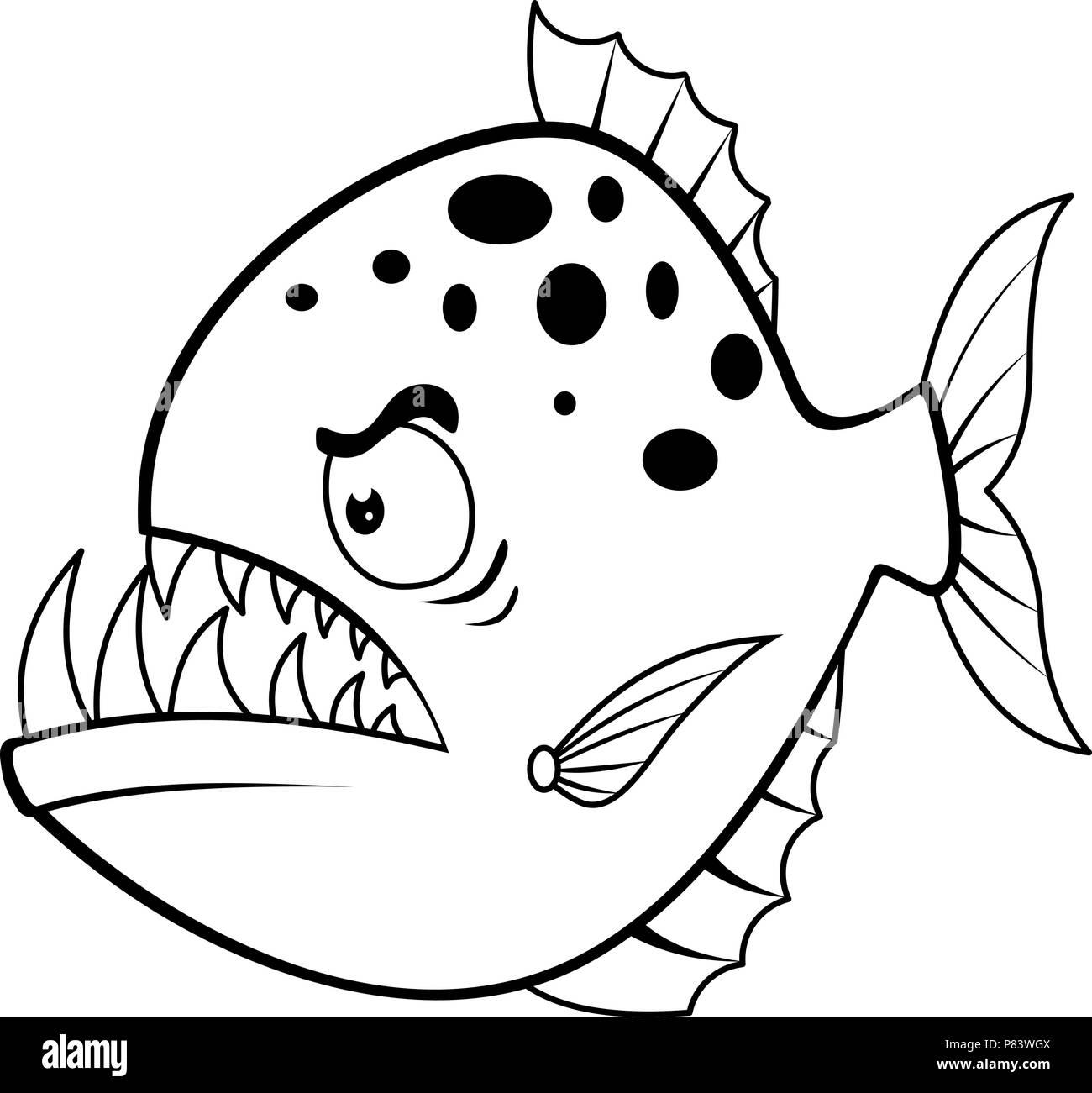 Cartoon enojado piraña Ilustración del Vector, Imagen: 211527594 - Alamy