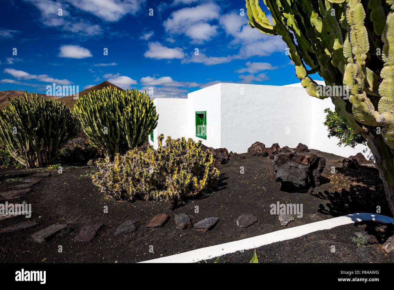 Vista De La Calle De Piedra Blanca Residencial Hermosa Casa Jardin