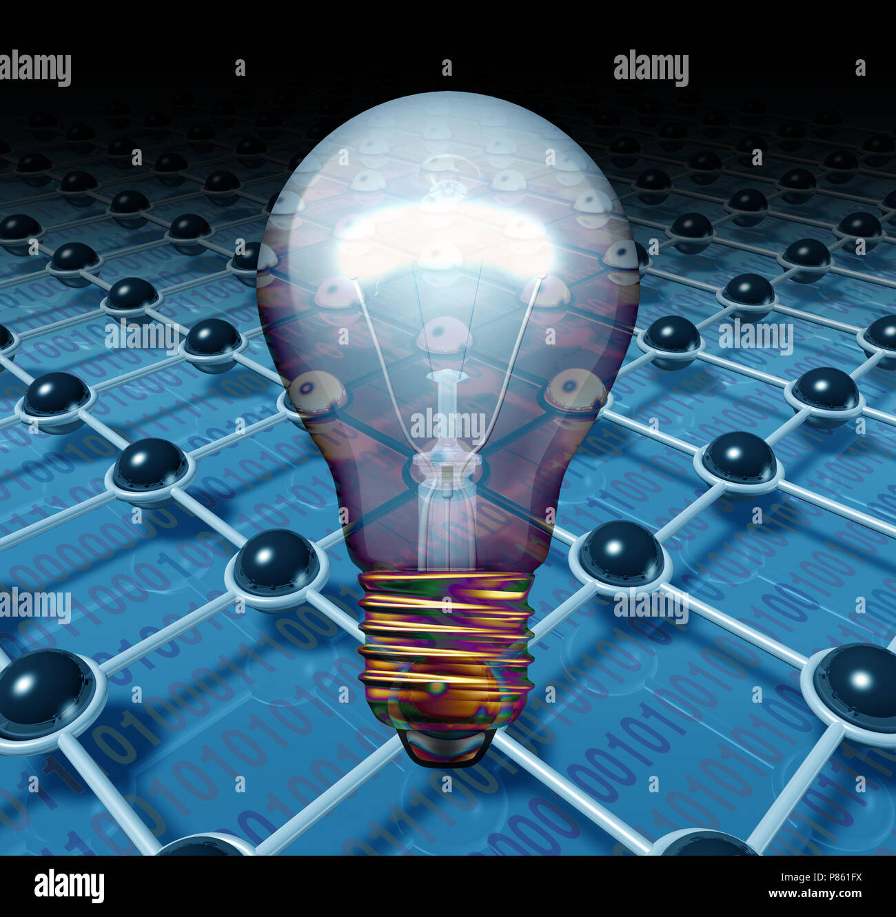 Solución de software Tecnología de futuro la idea creativa como un concepto abstracto como un símbolo de conexión3D Render. Imagen De Stock
