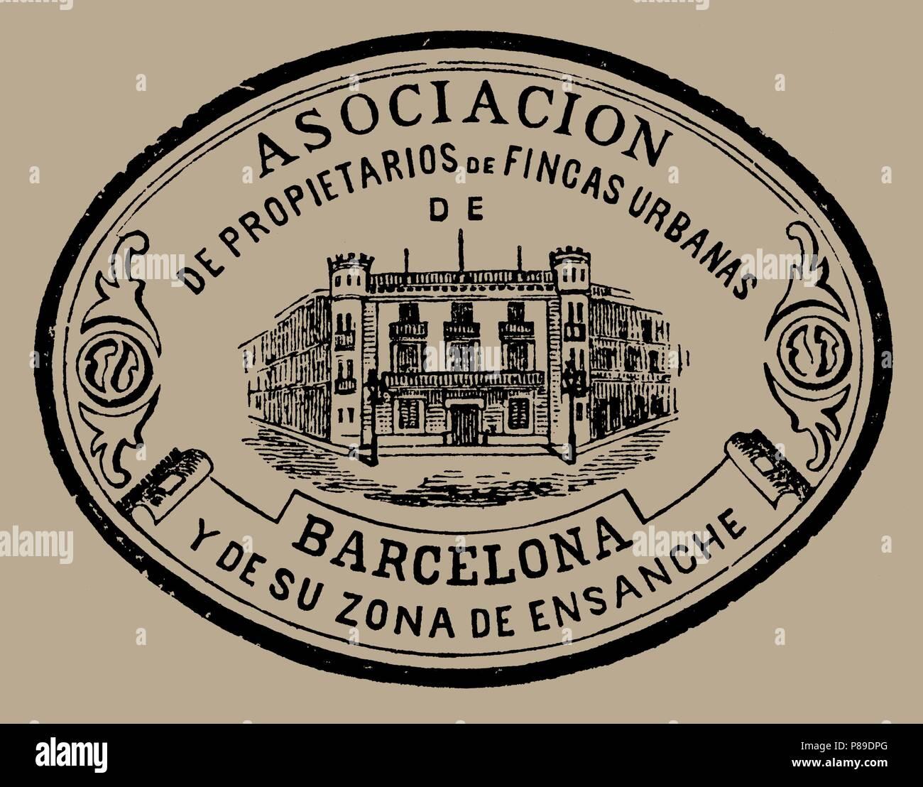 75f71ce30e8 Logotipo de la Asociación de Propietarios de Fincas Urbanas de Barcelona.  Años 1880.