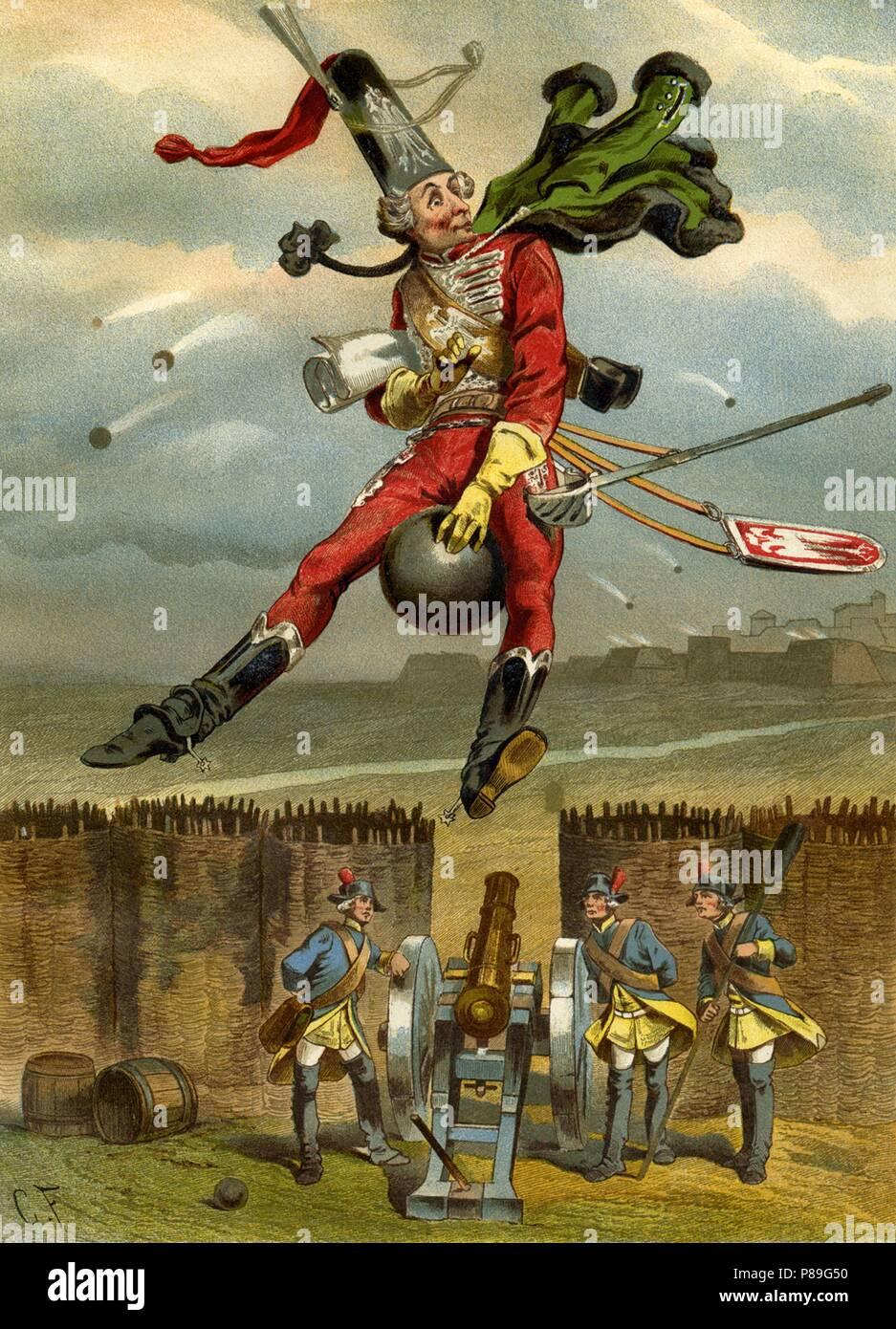 """Ilustración para el libro """"Las sorprendentes aventuras del barón Münchhausen"""" por Rudolph Erich Raspe. Museo: Colección privada. Foto de stock"""