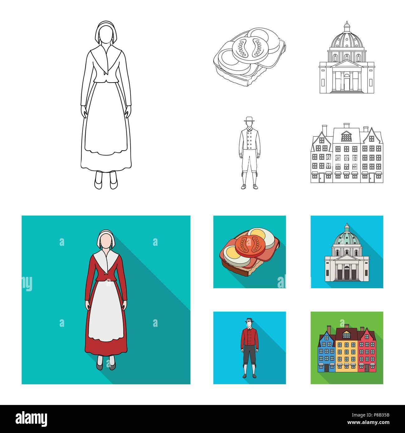Dinamarca, historia, restaurante y otro icono en su contorno,flat style.sándwich, comida, pan iconos en conjunto Ilustración del Vector