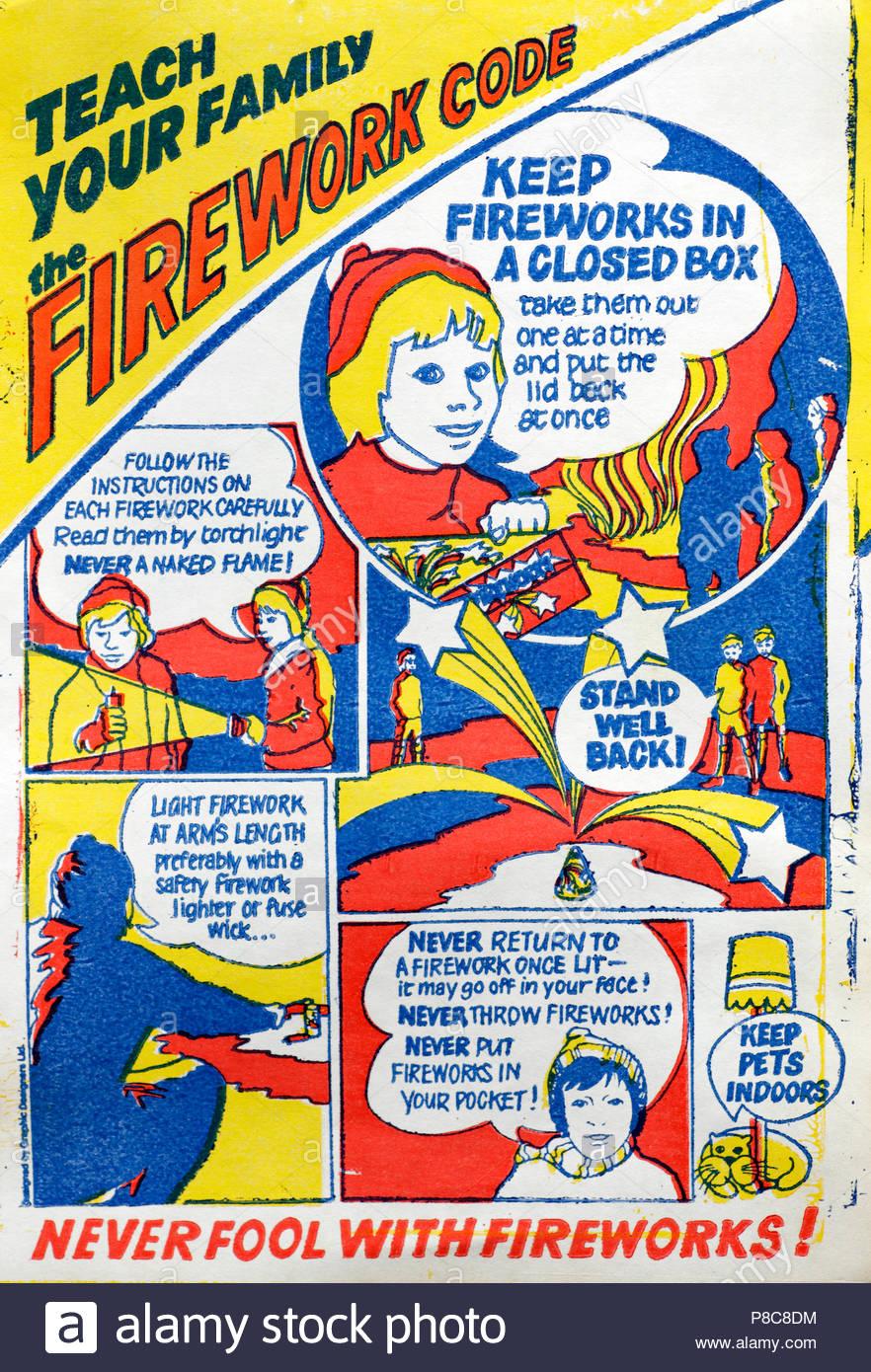 Código de fuegos artificiales en el Reino Unido información de seguridad Prospecto 1960/70S Imagen De Stock