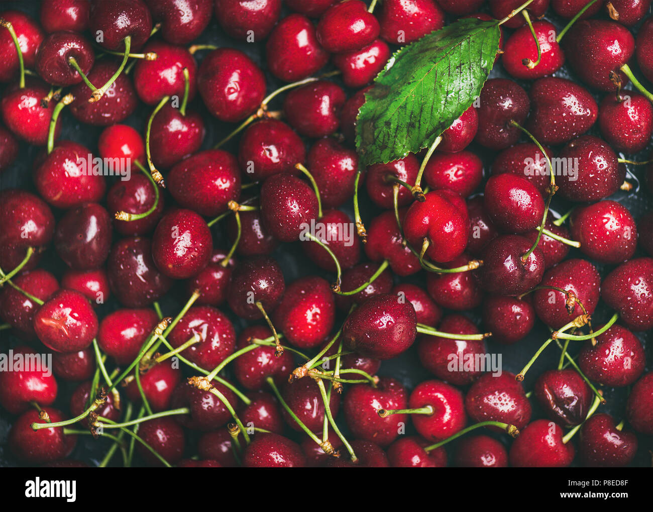 La cereza dulce textura fresca, papel tapiz y antecedentes Imagen De Stock