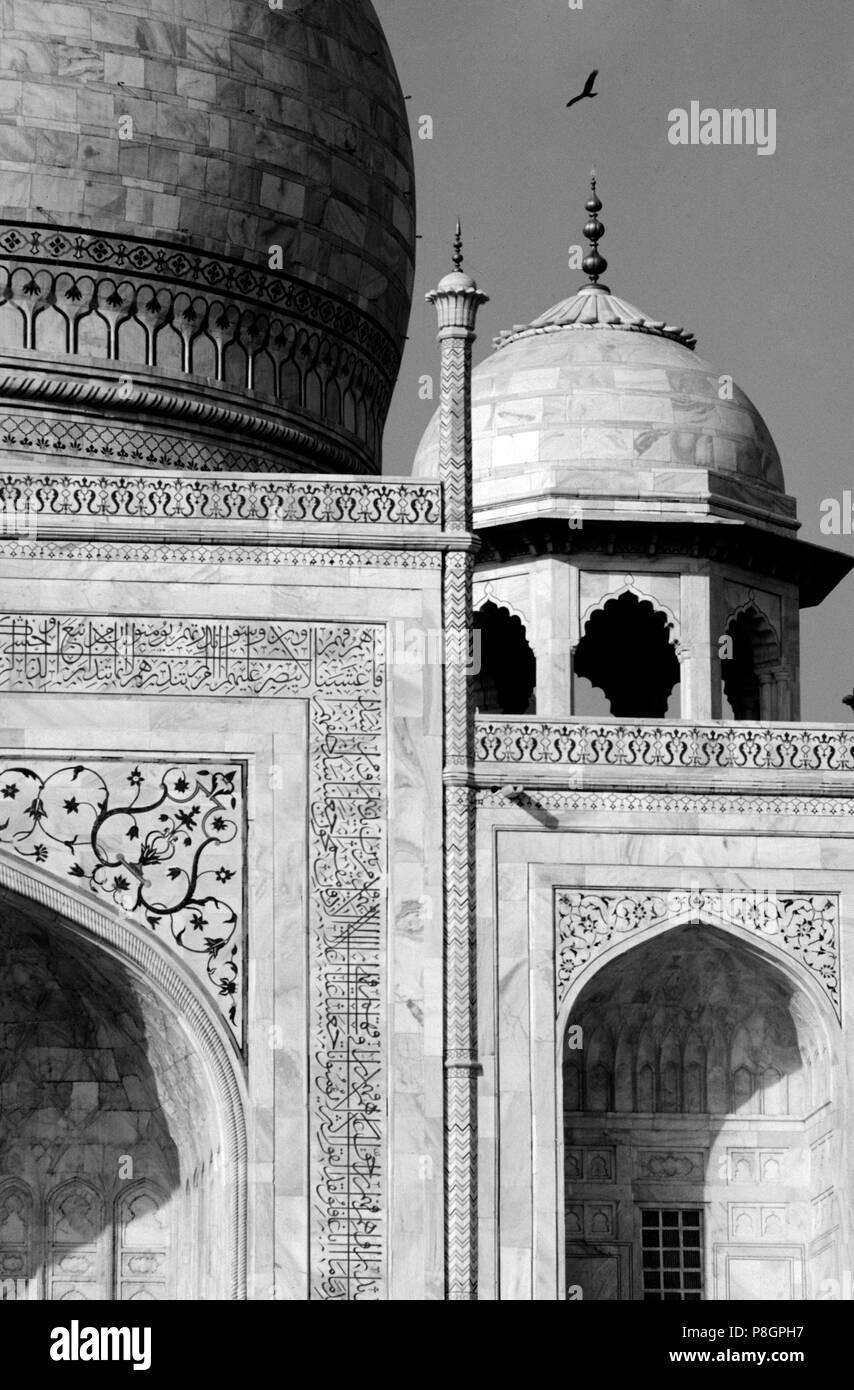 Detalle de pequeñas cúpulas del Taj Mahal, construido por el emperador Shahjahan para su esposa en 1653 - Agra, India Imagen De Stock