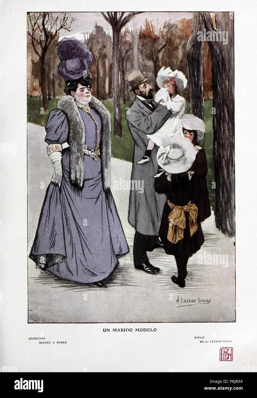 . 566 ONU modelo, marido de Lozano Sidro, Blanco y Negro, 08-06-1907 Imagen De Stock