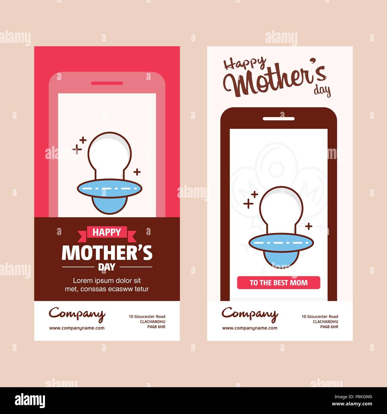266a36b2a Tarjeta del Día de la madre con el pezón logo y rosa tema vector. Para