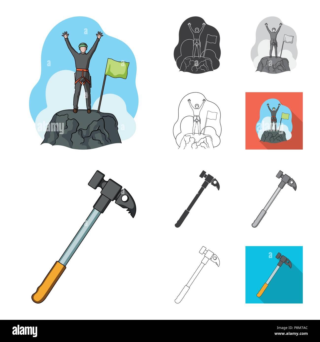 5199ee44207 Montañismo y escalada cartoon,negro,planas,Esquema monocromo, iconos en  conjunto para el diseño. Equipos y accesorios símbolo vector stock i