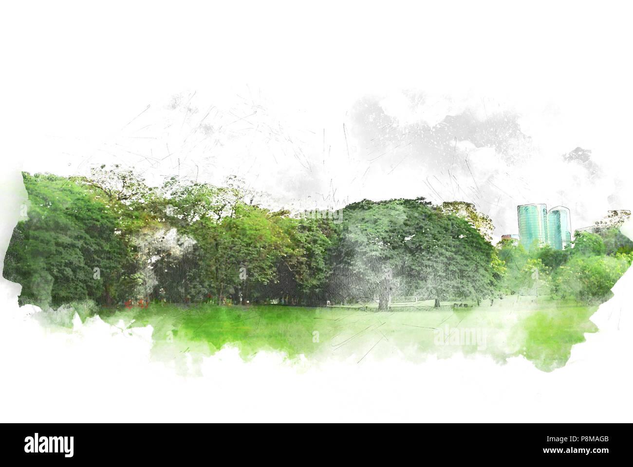 Árbol abstracto y campo paisaje en acuarela ilustración pintura de fondo. Imagen De Stock