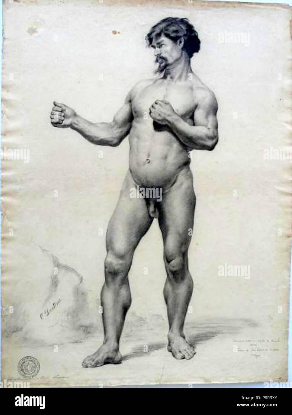 353 José Maria de Medeiros - Nu masculino (académico) Imagen De Stock