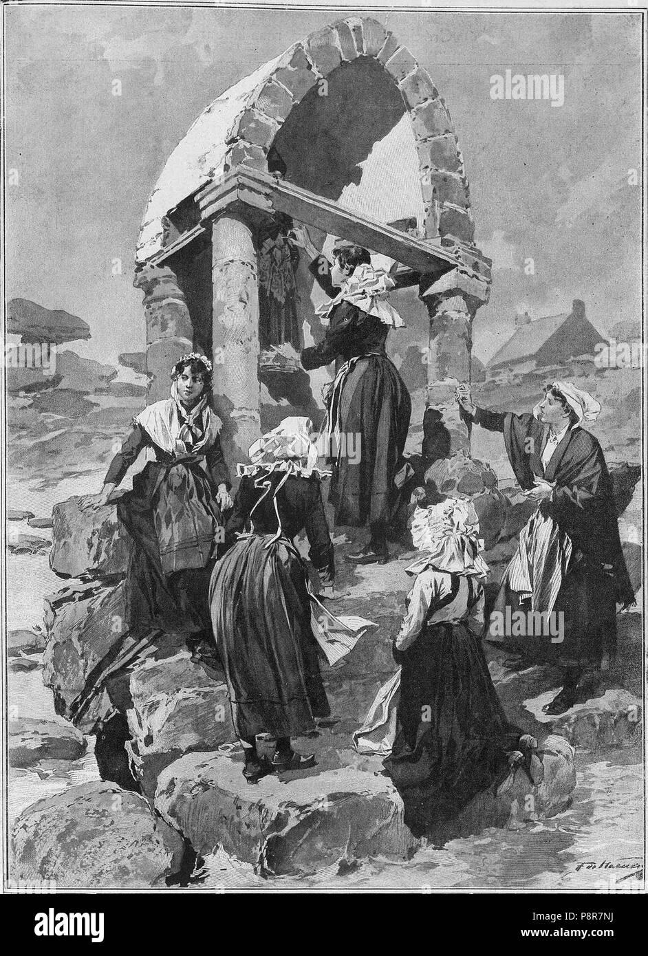 354 jóvenes que acuden a visitar a San Guirec el día de Santa Catalina para conseguir un marido antes de terminar el año Imagen De Stock