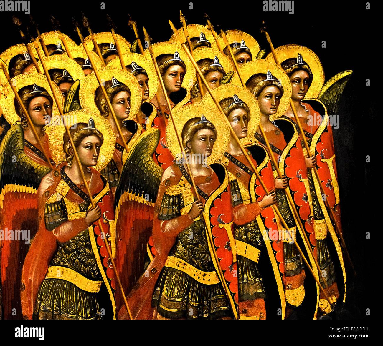 Schiera armati (Arcangeli di angeli ? Armado de la matriz ) ángeles (Arcángeles?) Guariento di Arpo (1310 - 1370), pintor del siglo XIV en Padua. Italia italiano Imagen De Stock