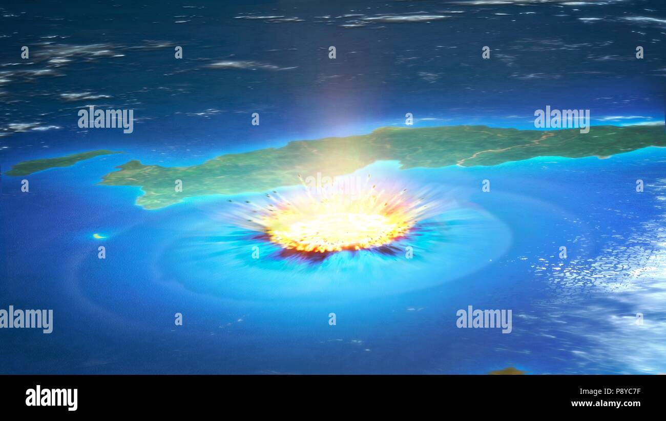Impacto De Un Asteroide Ilustracion De Un Gran Asteroide Chocando Con La Tierra En La Peninsula Todo el mundo conoce la historia de que un meteorito gigantesco impactó la tierra hace casi 66 millones de años y fue el causante de la extinción de los dinosaurios. https www alamy es impacto de un asteroide ilustracion de un gran asteroide chocando con la tierra en la peninsula de yucatan en mexico este impacto se cree que han llevado a la muerte de los dinosaurios hace 65 millones de anos el impacto formo el crater de chicxulub que es de alrededor de 200 kilometros de ancho el impacto habria arrojado billones de toneladas de polvo en la atmosfera el enfriamiento del clima de la tierra significativamente lo cual puede haber sido la responsable de la extincion masiva una capa de iridio ricos rock conocido como el limite k pg se cree que los restos del impacto suciedad image212043987 html