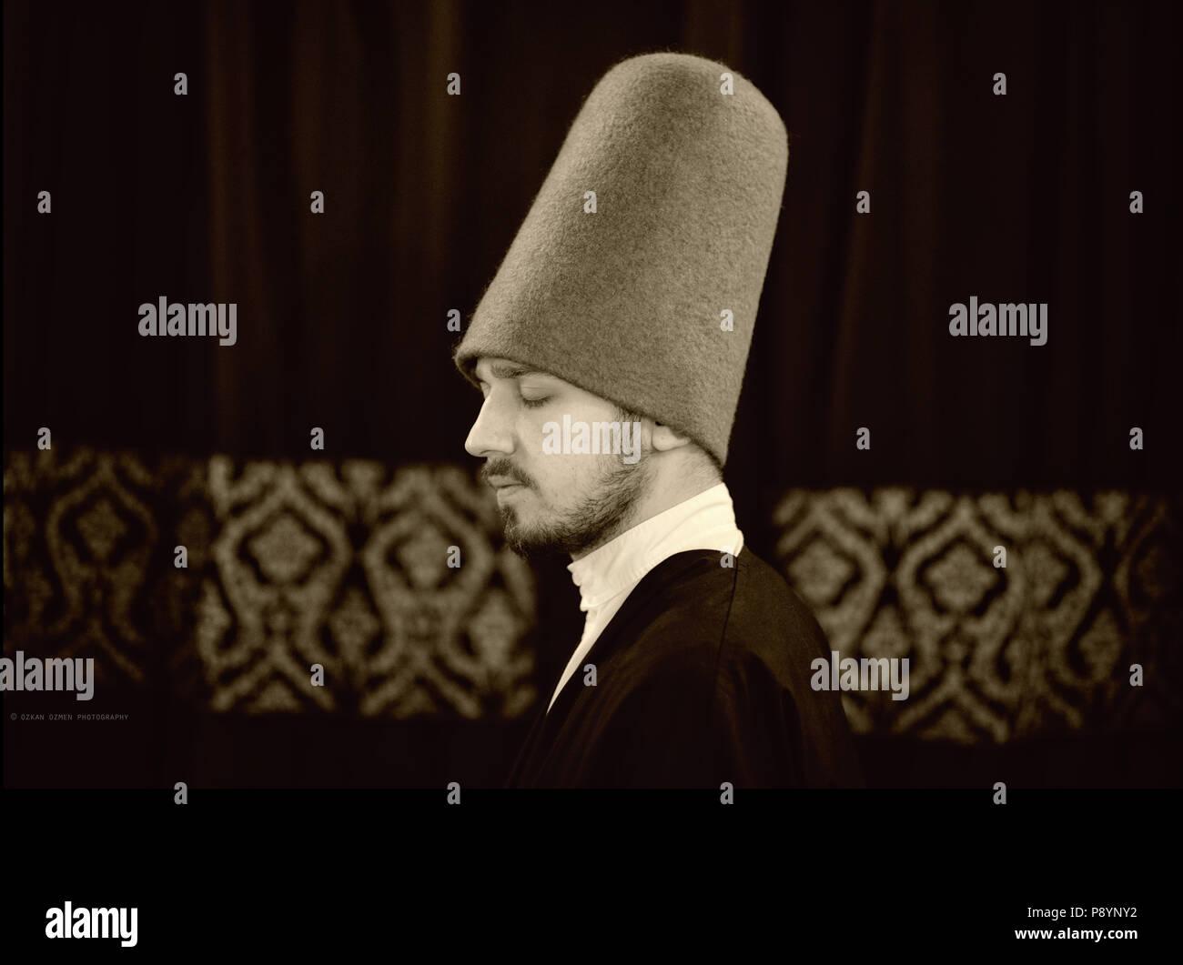 El torbellino derviche derviche sufí retrato, retrato de cierre Foto de stock