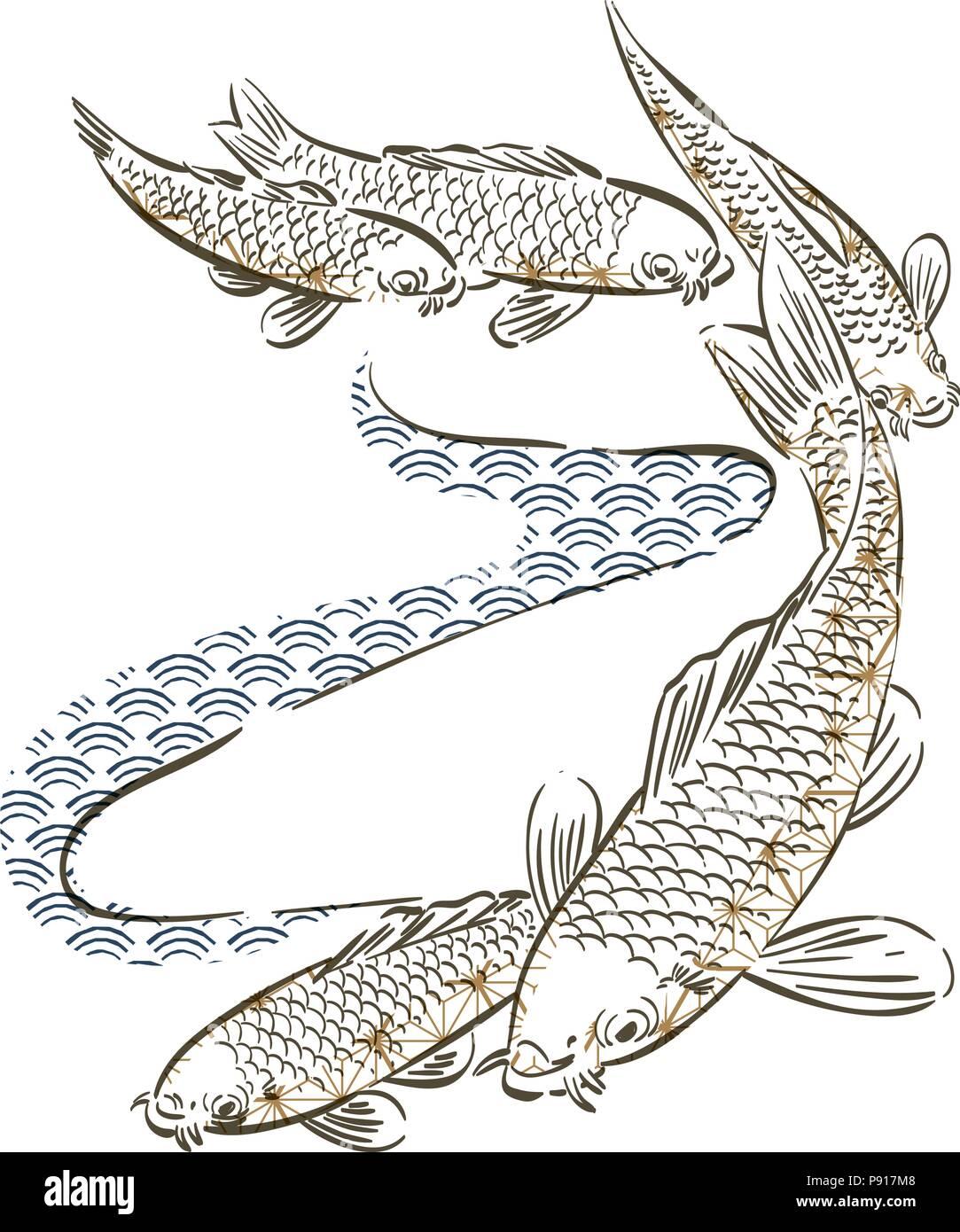 Peces carpa vector dibujados a mano. Patrón japonés y el fondo ...