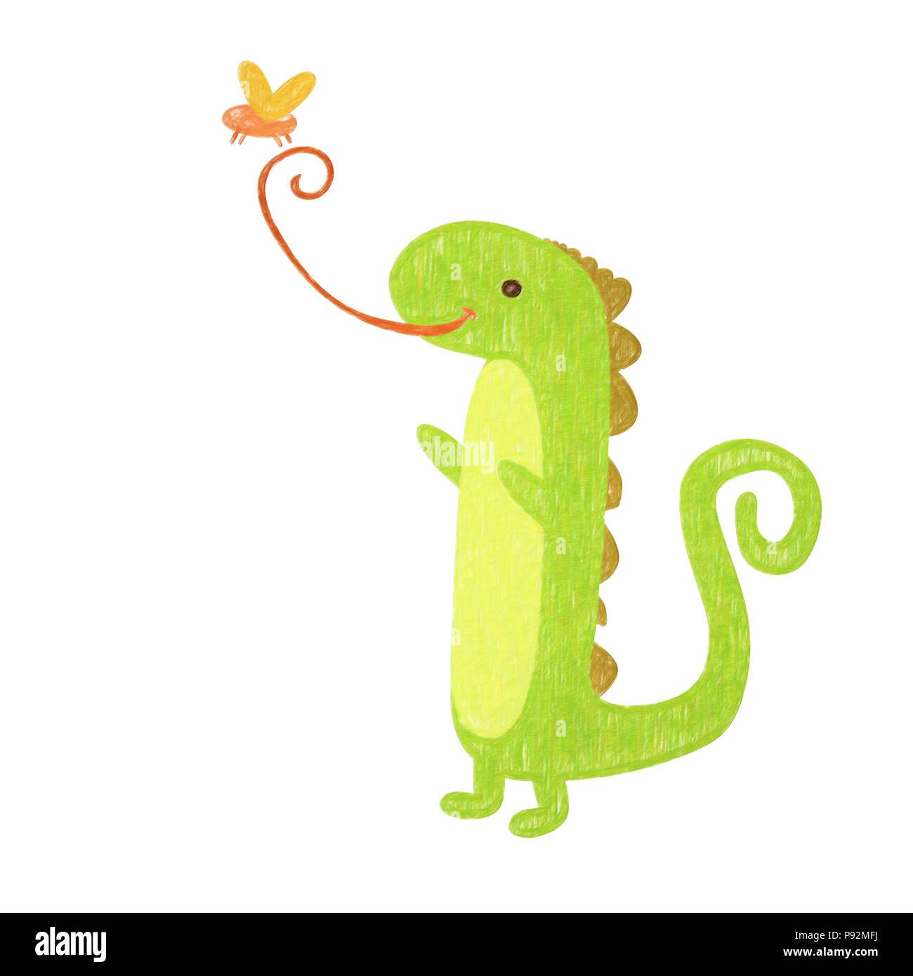 Iguana Aislados Dibujo A Mano Alzada Para Un Niño Iguana Foto