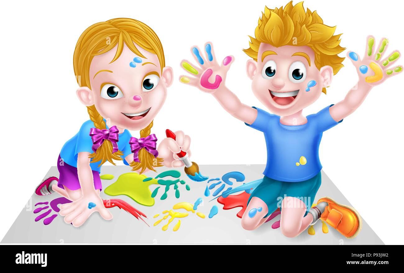 Niños pintando dibujos animados Ilustración del Vector, Imagen ...