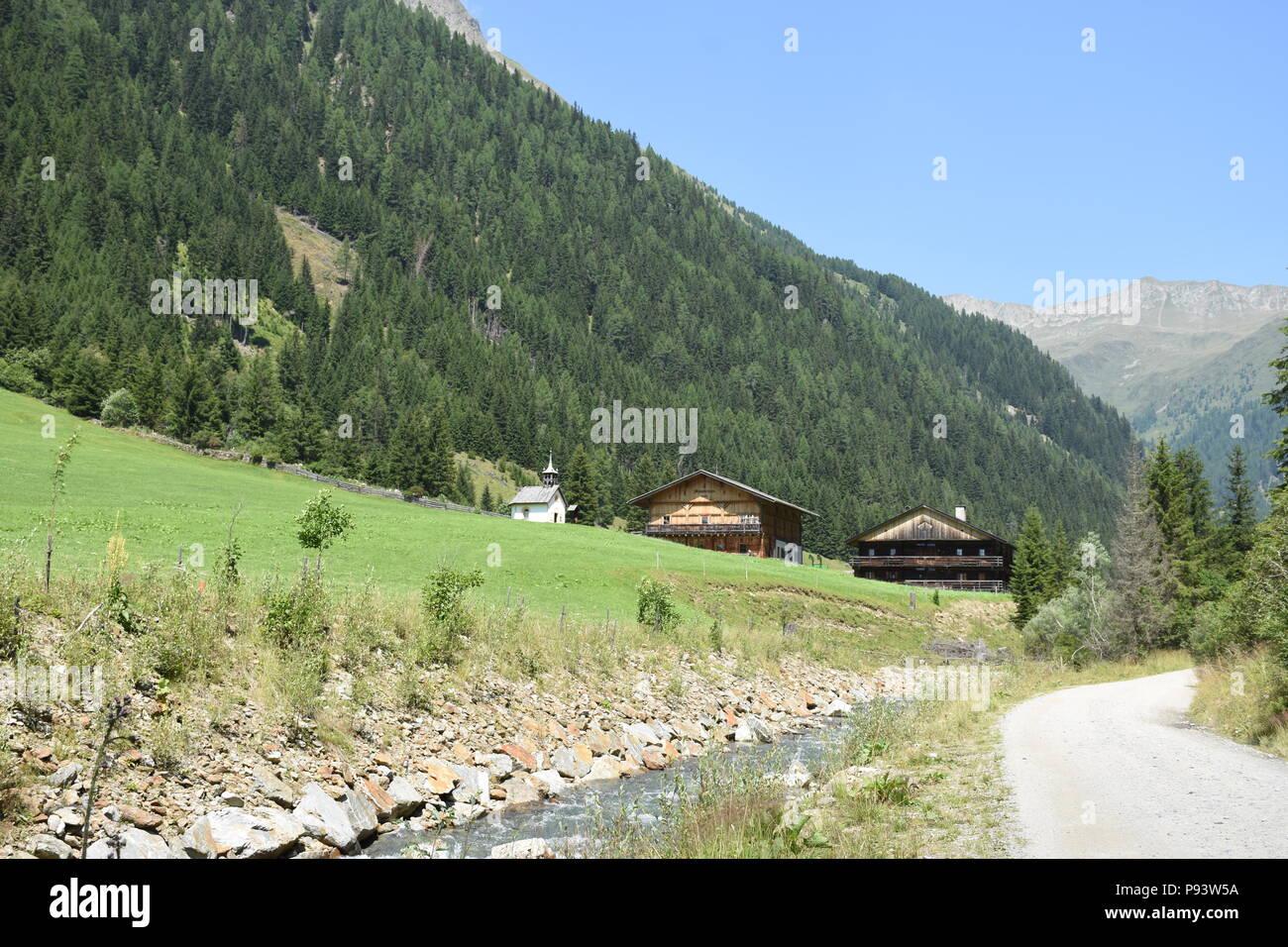 Osttirol, Lienz, Villgraten, Villgrater Berge, Landwirtschaft, Bauernhof, Bergbauer, Bergbauernhof, Österreich, Tirol, tradición, colgar, steil, Wiese, Foto de stock