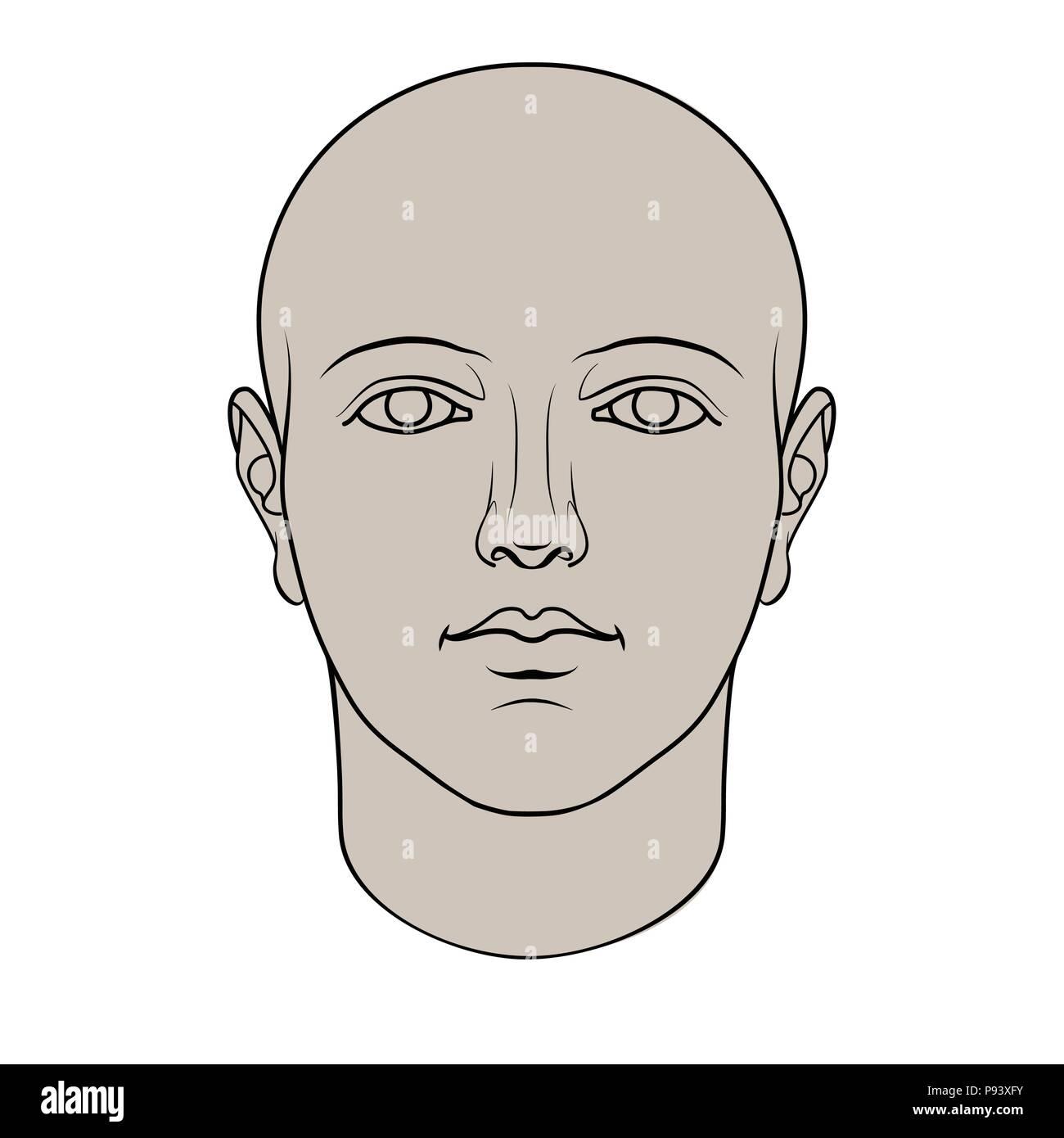 Cabeza humana dibujados a mano en la cara. Razonabilidad de vector plano aislado sobre fondo blanco. Imagen De Stock