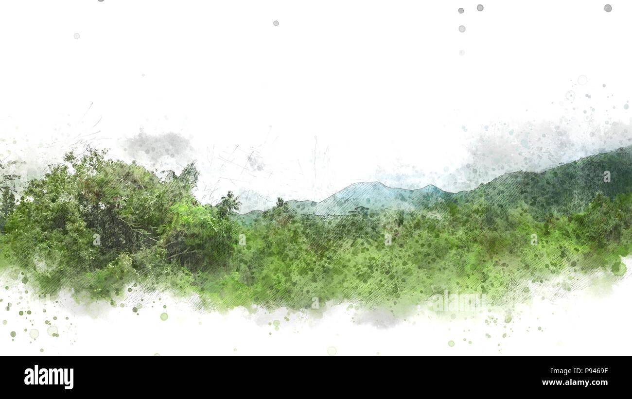 Resumen de montaña y árbol de acuarela del paisaje de fondo Foto ...