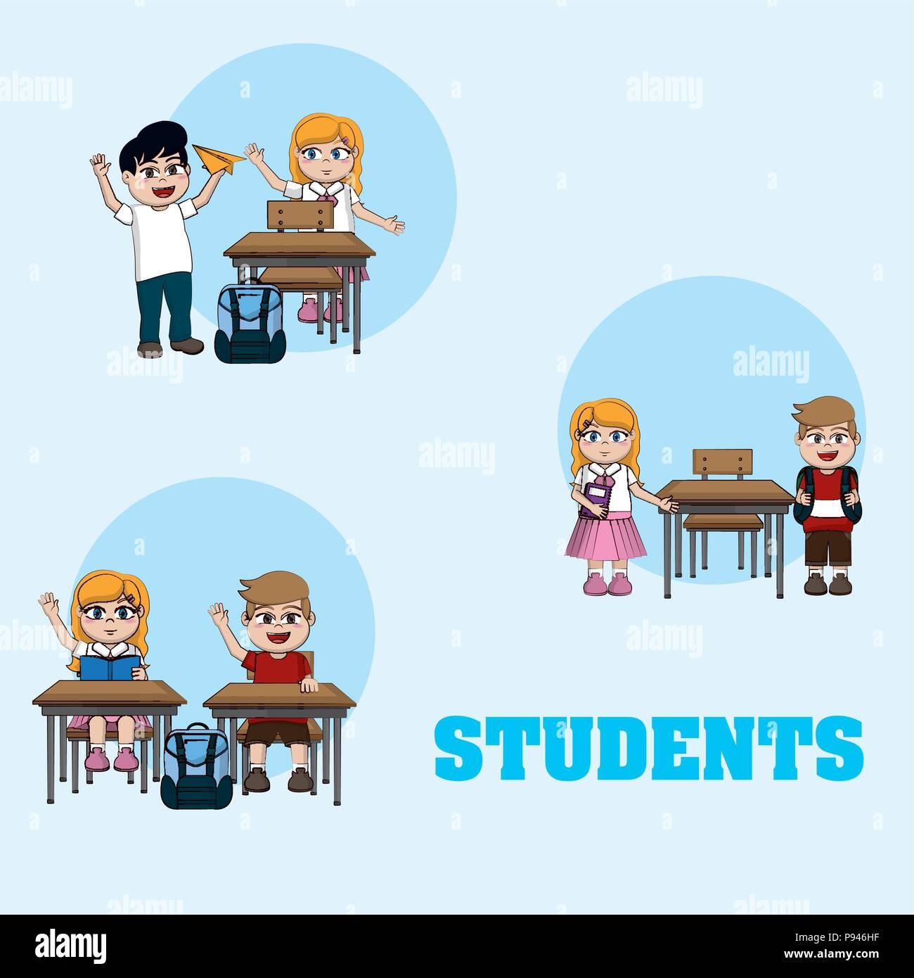 Cute Dibujos Animados Estudiantes Ronda Iconos Ilustración Vectorial