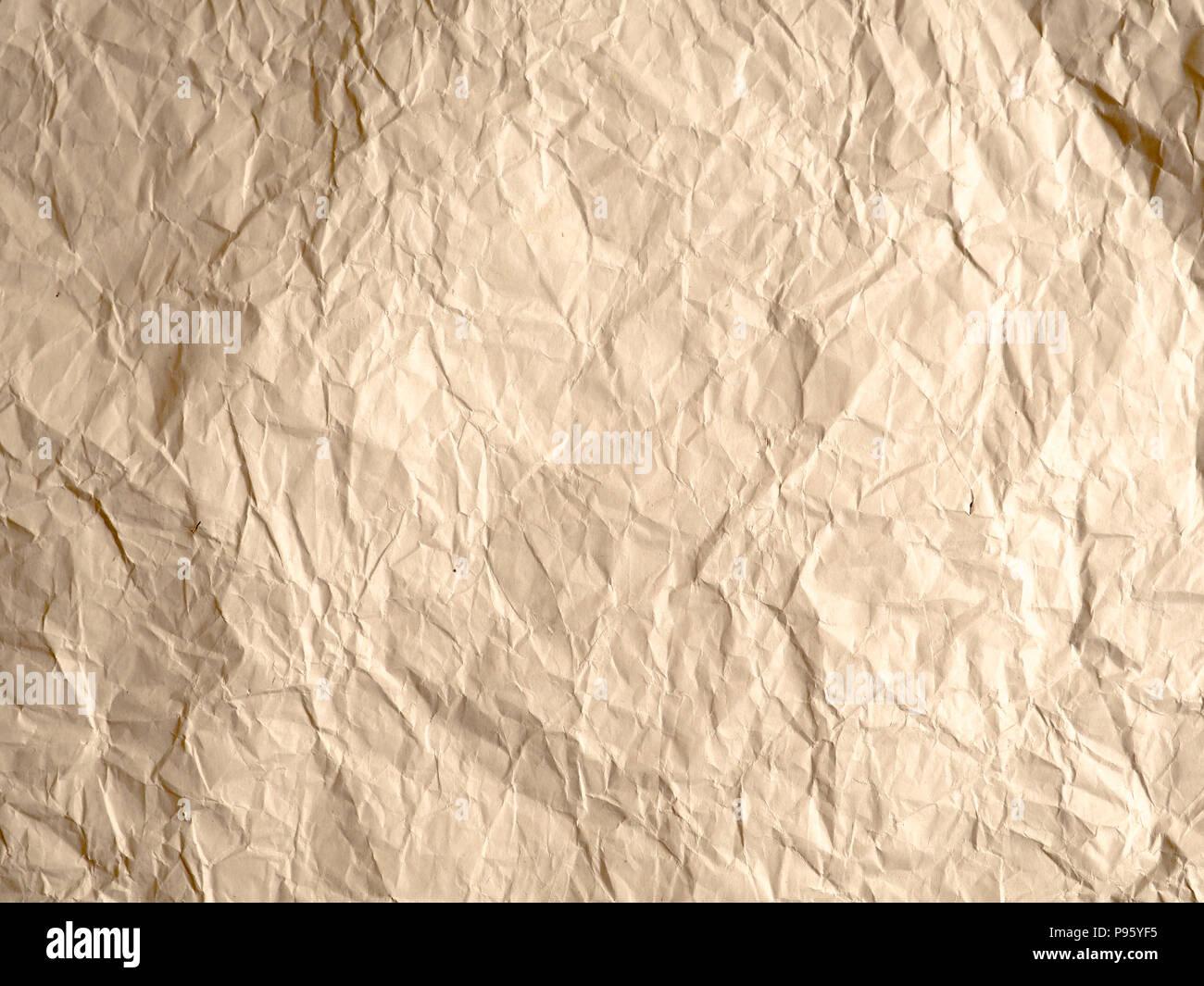 Textura De Papel Arrugado Fondo Blanco, Marrón Reciclar