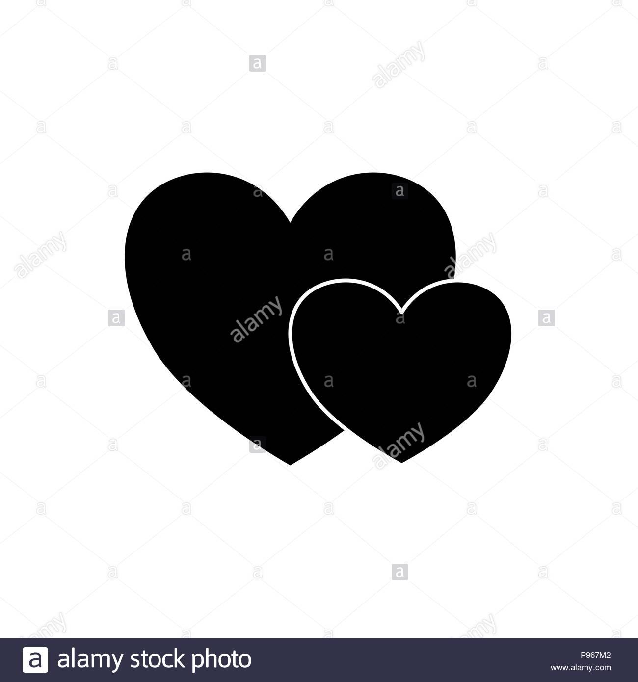 Dos Corazones Negro Ilustración Del Vector Imagen 212194082 Alamy