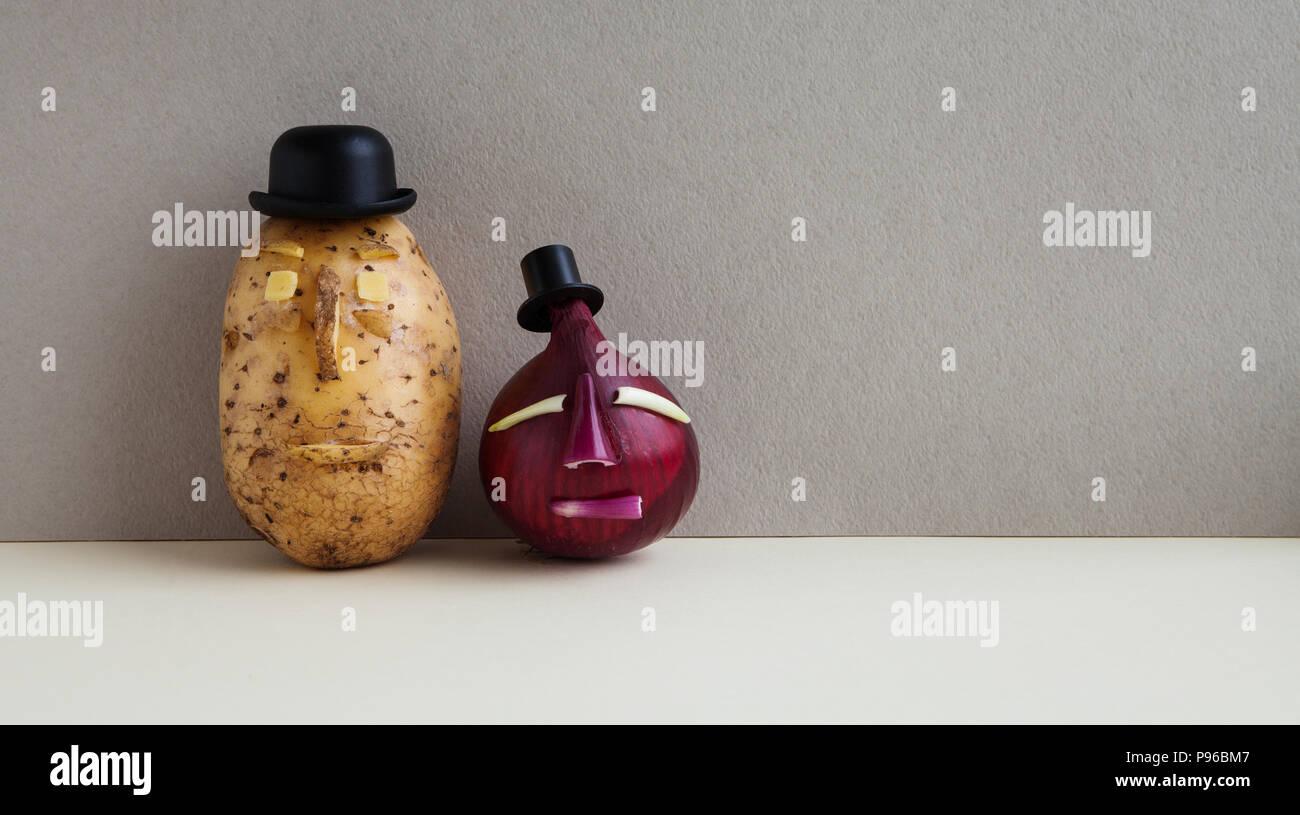 Concepto de comida vegetariana. Señor Patata cebolla roja. Viejo Estilo de  moda personajes centrales c4cc823b7c3