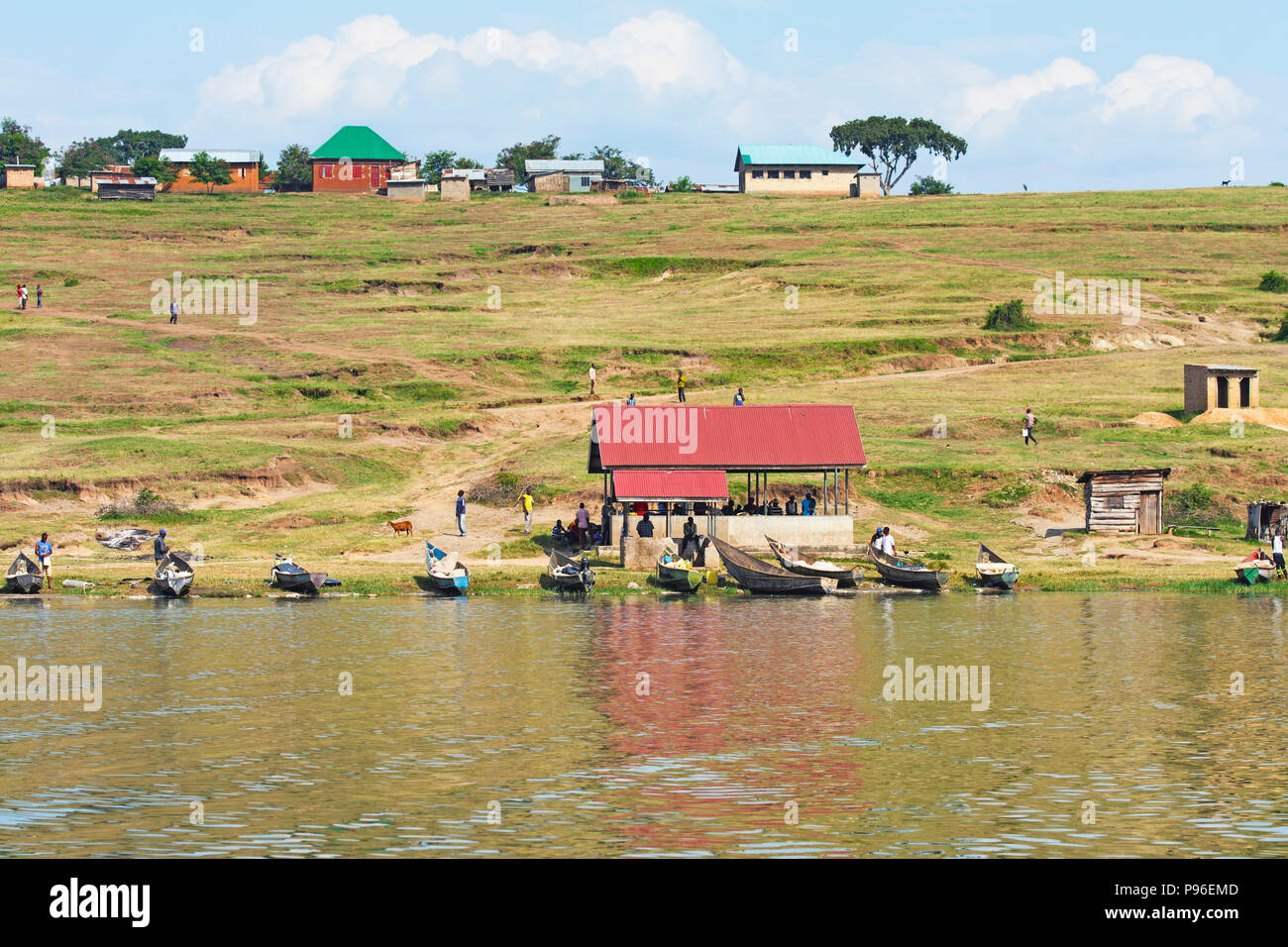 Pueblo de pescadores, Canal Kazinga, Uganda Imagen De Stock