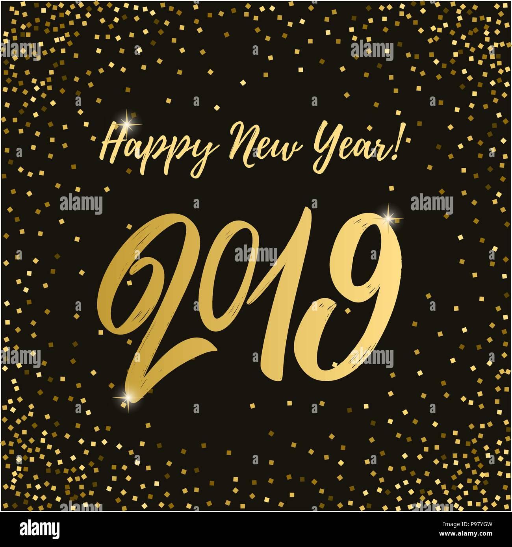 Feliz Año Nuevo 2019 Frase De Letras Sobre Fondo Oscuro Con