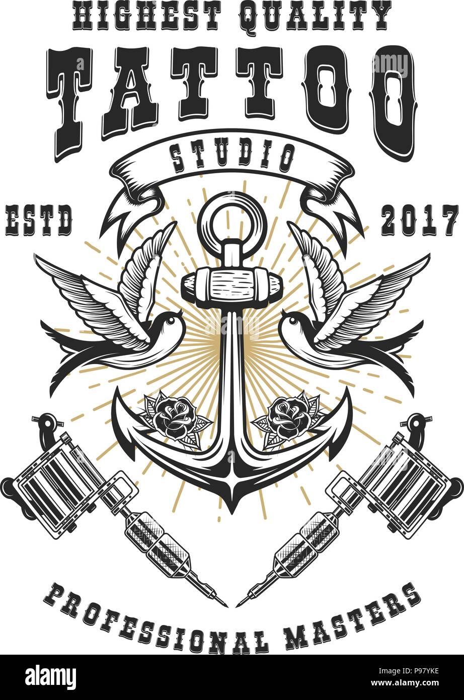 Tattoo Studio Poster Plantilla Cruzó Máquinas De Tatuaje Ancla Con